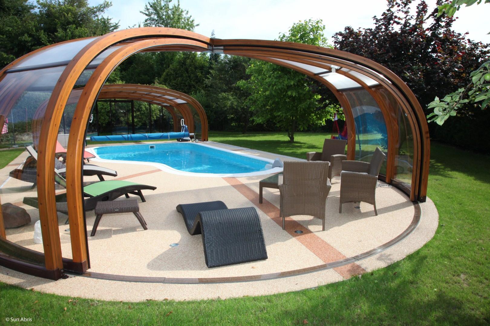 abri piscine bois lamelle colle