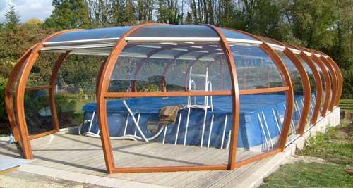 abri piscine hexagonale hors sol