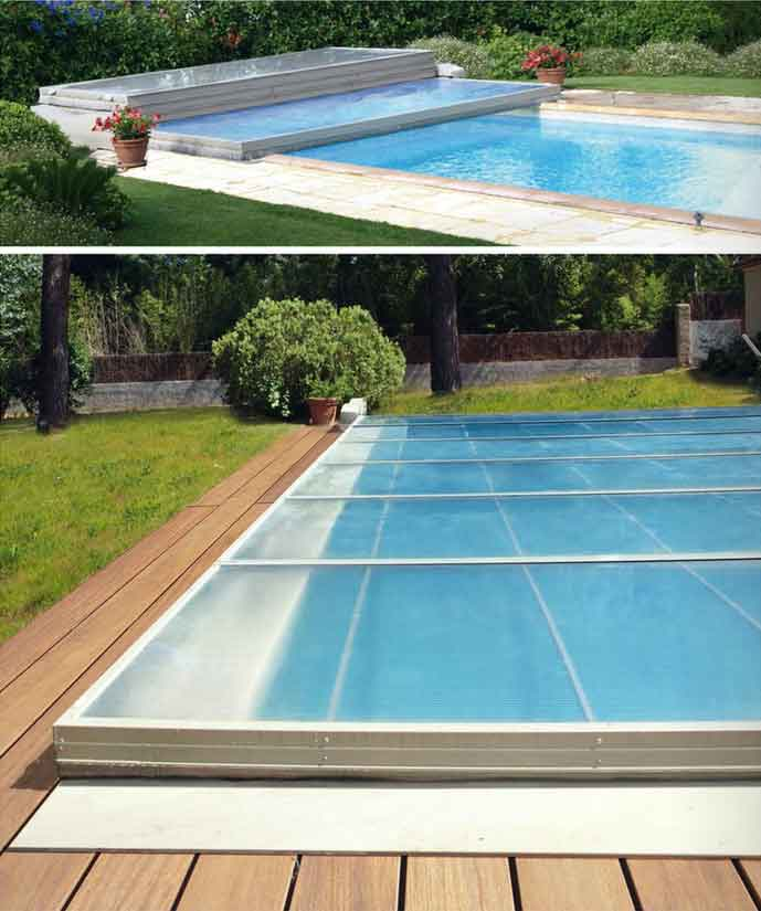 abri piscine plat motorise