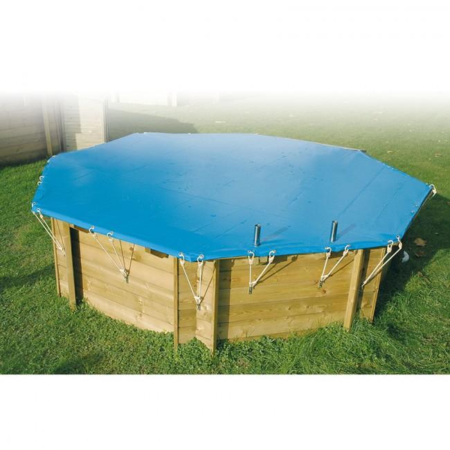Bache piscine hors sol bois octogonale - Bache d hiver pour piscine hors sol ...