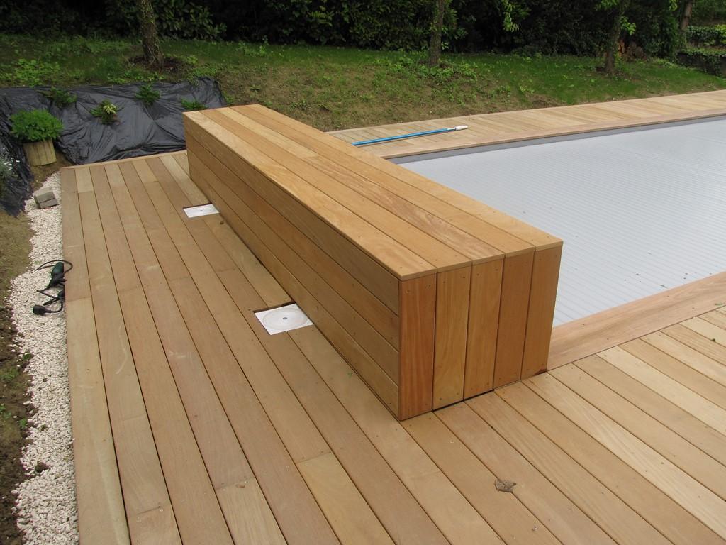 volet piscine coffre bois
