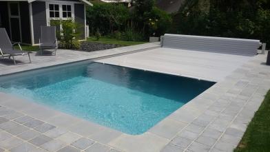 Volet piscine gris clair - Piscine liner gris clair ...