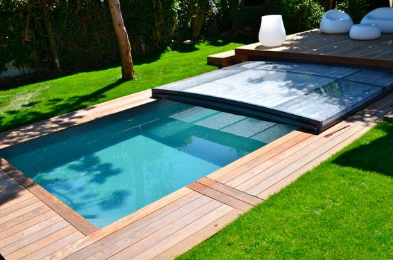 abri piscine plat bois