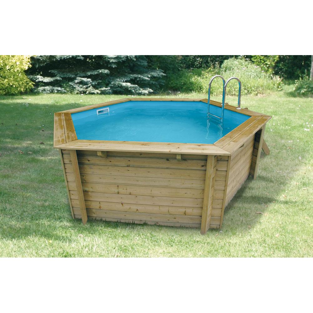 bache piscine bois hexagonale